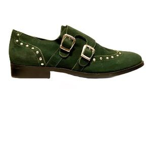 Musse & Cloud suede double buckle studded loafers